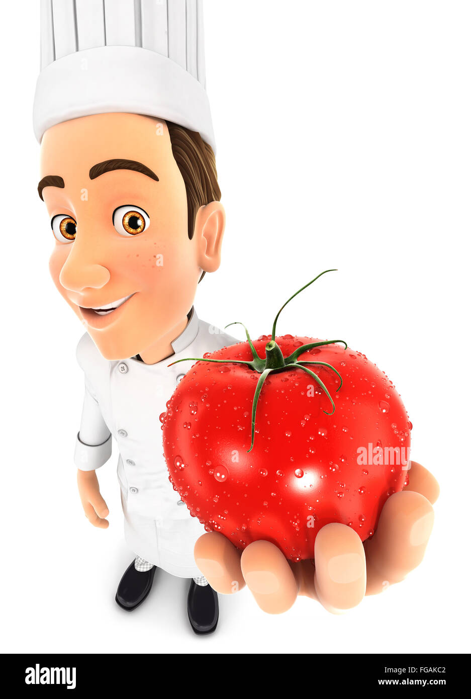 3d head chef holding a fresh tomato, isolated white background Stock Photo