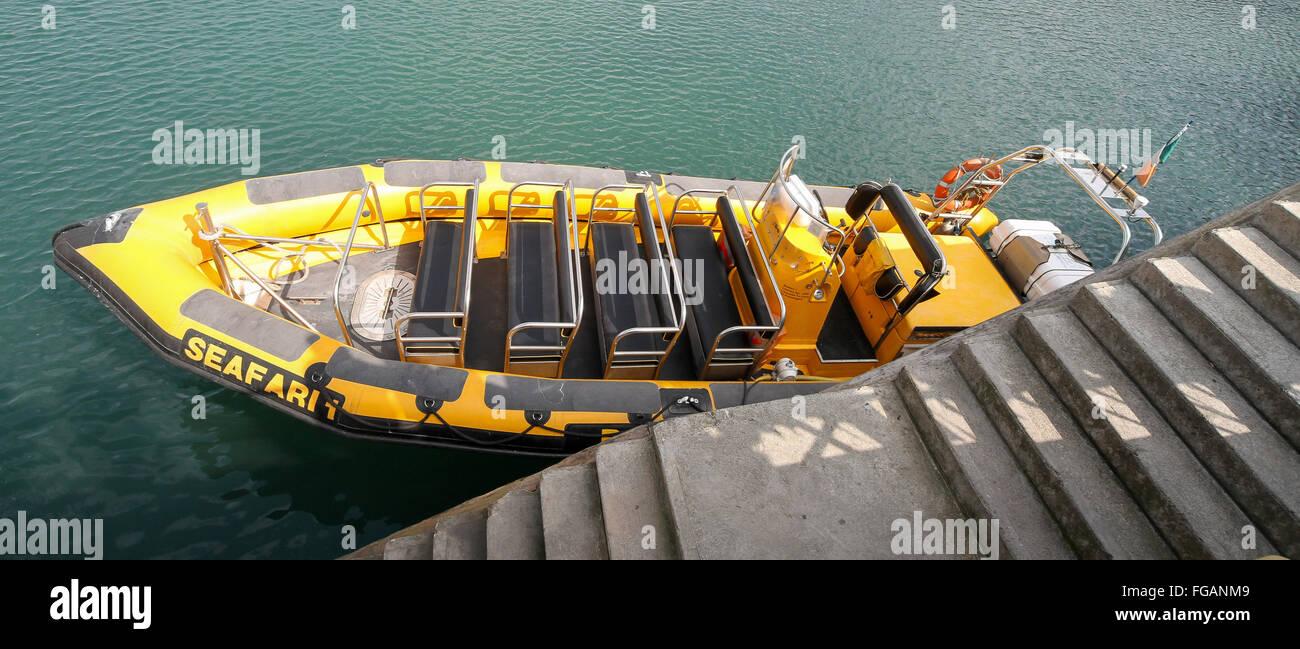 The Baltimore Sea Safari rib, Seafari 1, ready for a trip from Baltimore County Cork Ireland - Stock Image