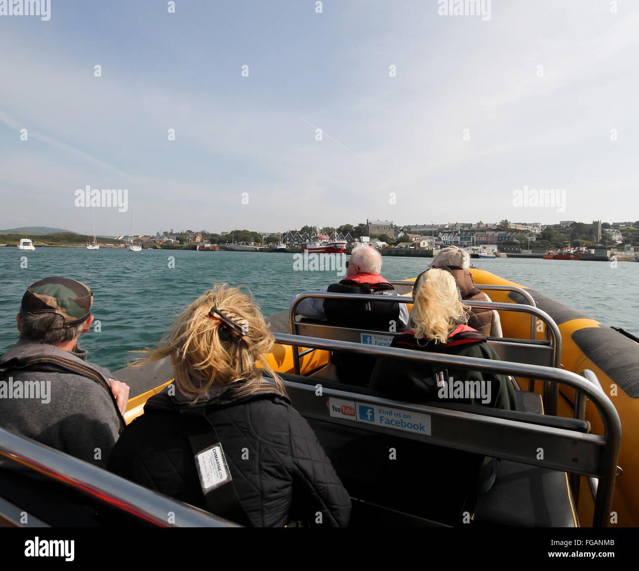 The Baltimore Sea Safari RIB, Seafari 1, coming back from a trip to Baltimore County Cork Ireland - Stock Image