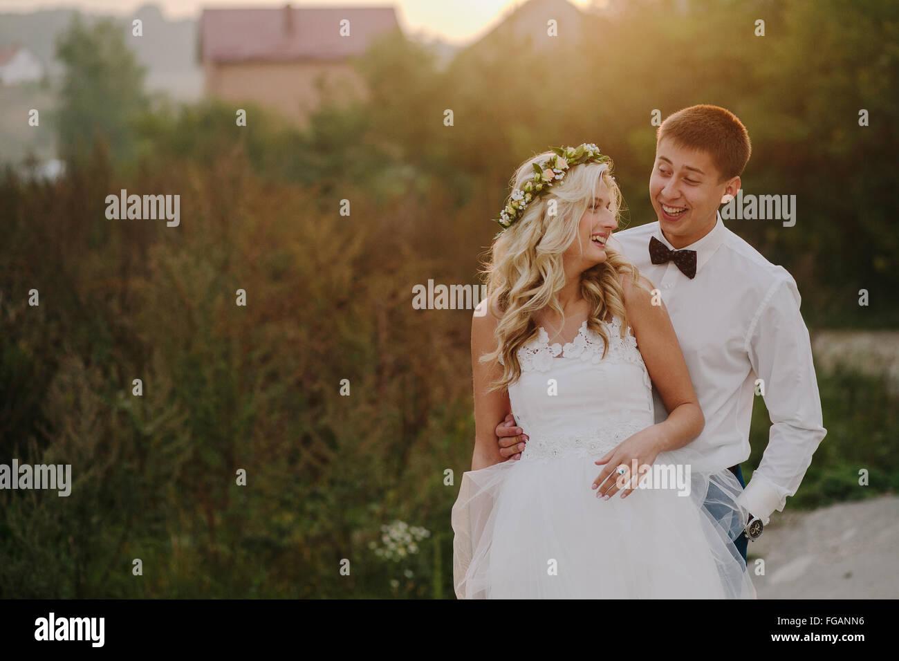 Wedding couple on the nature - Stock Image