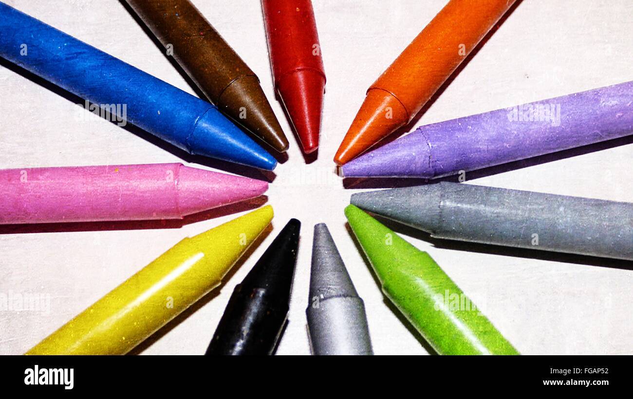High Angle View Of Multi Colored Crayons On Table - Stock Image