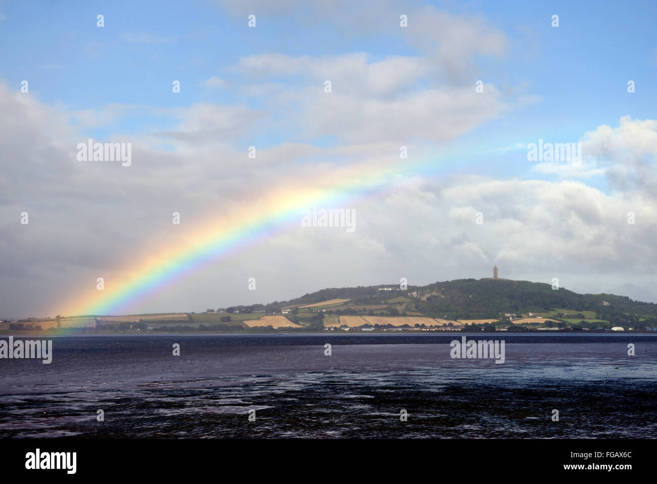 Rainbow over Strangford Lough sea loch inlet county Down shower showery weather RM Ireland Stock Photo