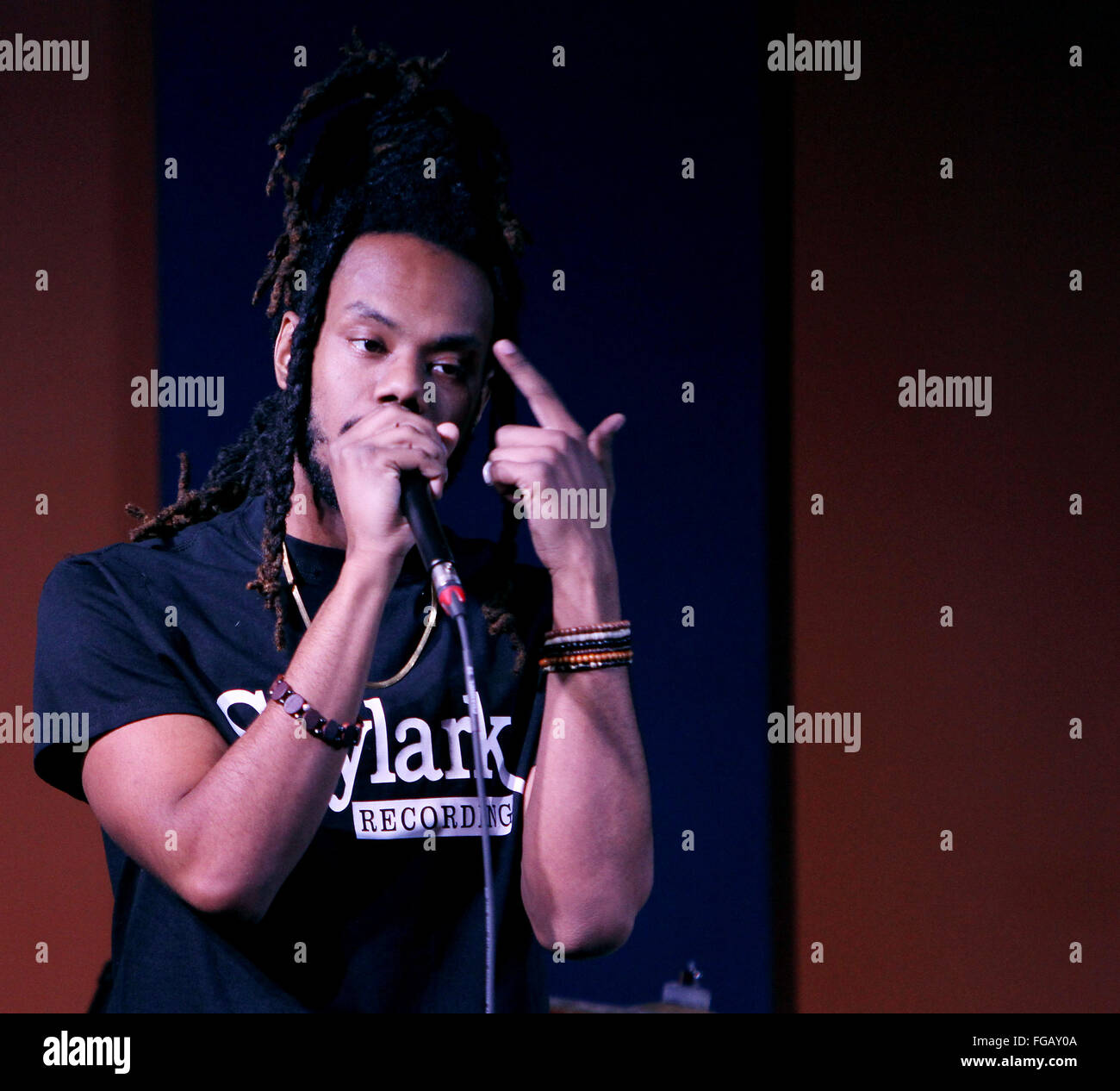 Iowa, USA. 17th Feb, 2016. Quad-City based rapper Xavy Rusan kicked off the Daytrotter Downs music festival in downtown - Stock Image