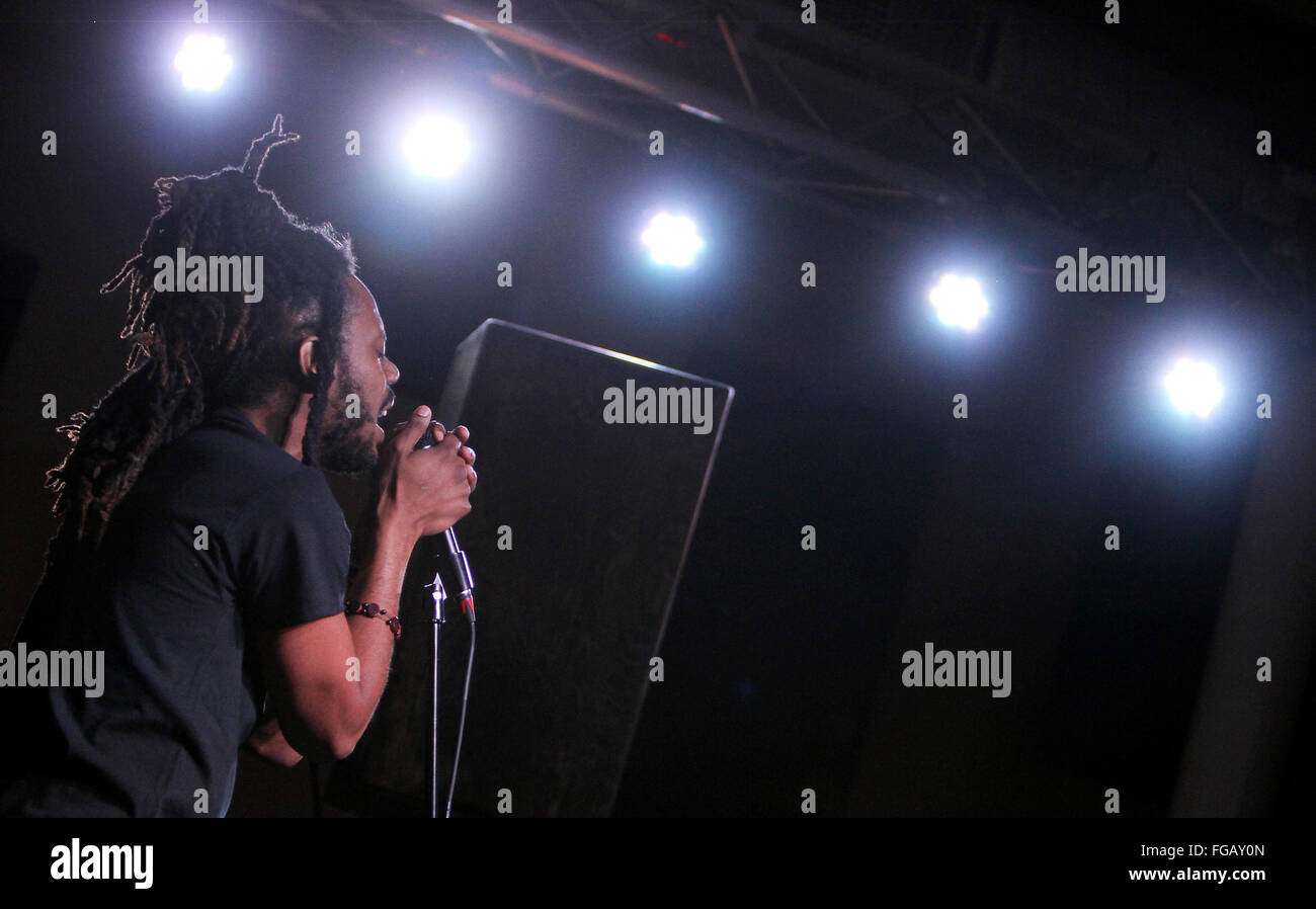 Feb. 17, 2016 - Iowa, U.S. - Quad-City based rapper Xavy Rusan kicked off the Daytrotter Downs music festival in - Stock Image