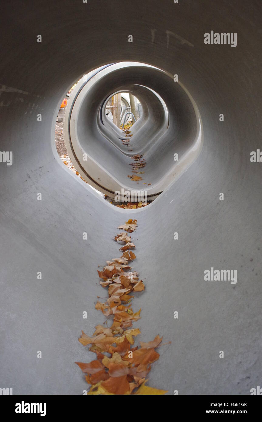 Row Of Hallow Concrete Pipes - Stock Image