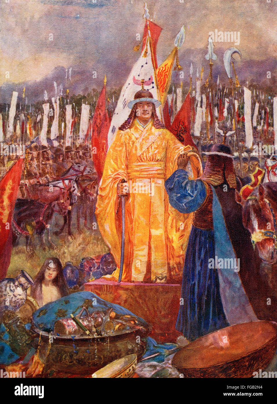 The Grand Marshal Zhao Kuangyin is proclaimed Emperor of the Song Dynasty on the battlefield after the Coup d'état - Stock Image