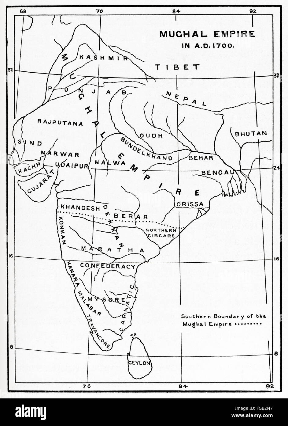 Map of the Mughal Empire in India, 1700. - Stock Image