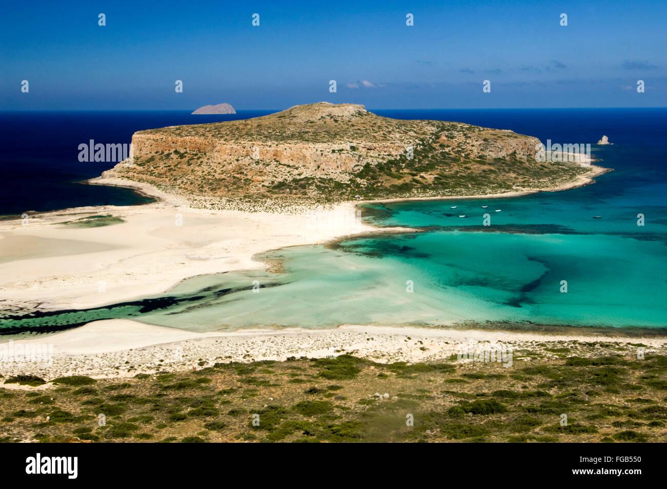 Griechenland, Kreta, Kissamos, Blick auf Balos Beach und die Lagune - Stock Image