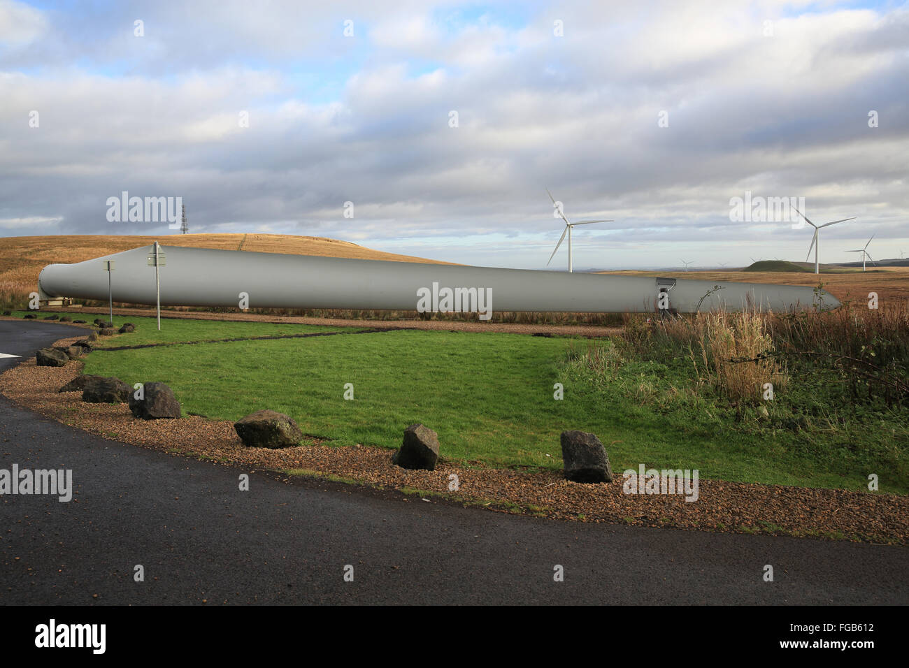 A blade from a wind turbine at Whitelee, the UK's largest onshore windfarm, near Glasgow, in Scotland, UK - Stock Image