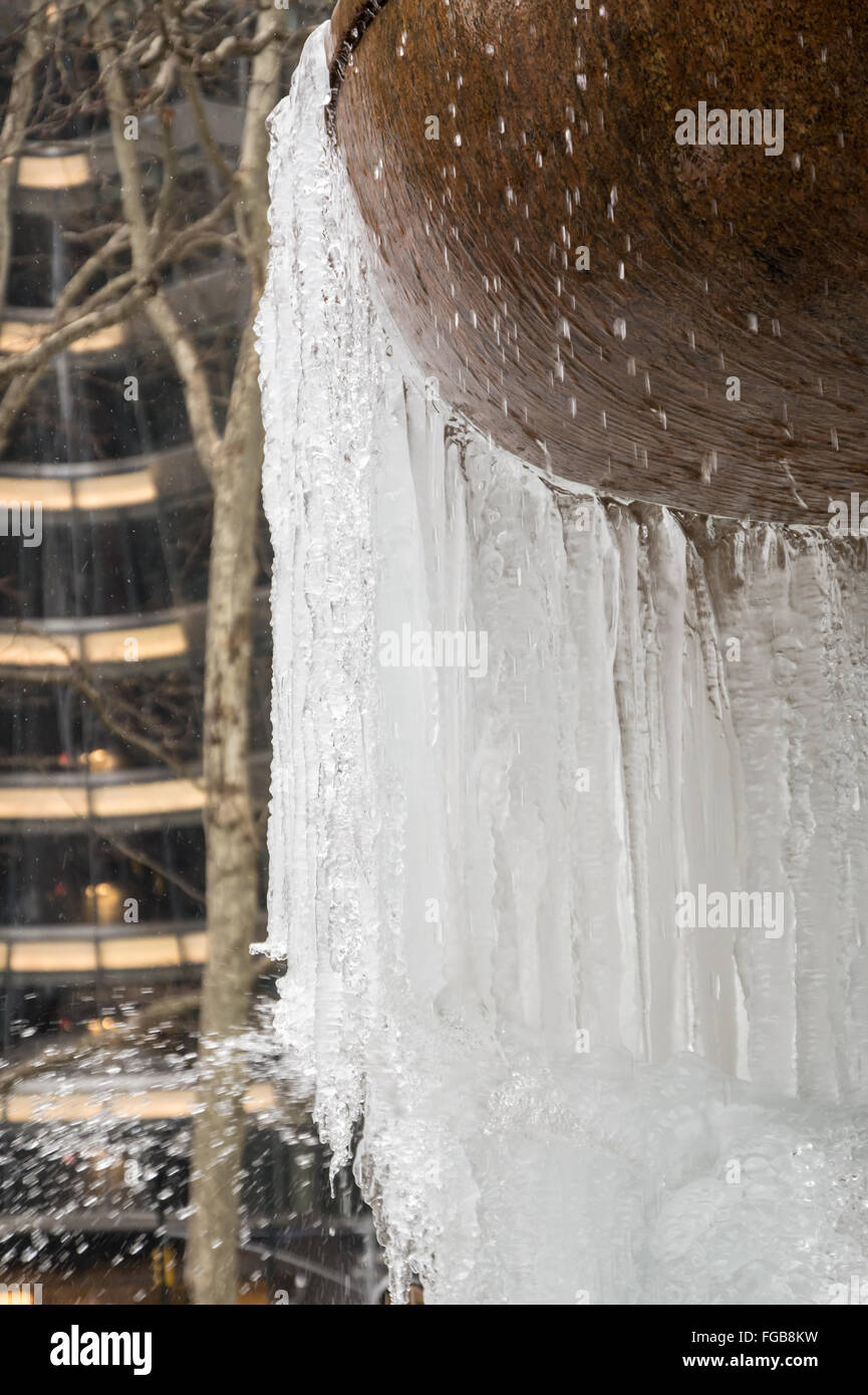 Close up of Josephine Shaw Lowell Memorial Fountain in Bryant Park frozen after record-breaking cold temperatures, - Stock Image