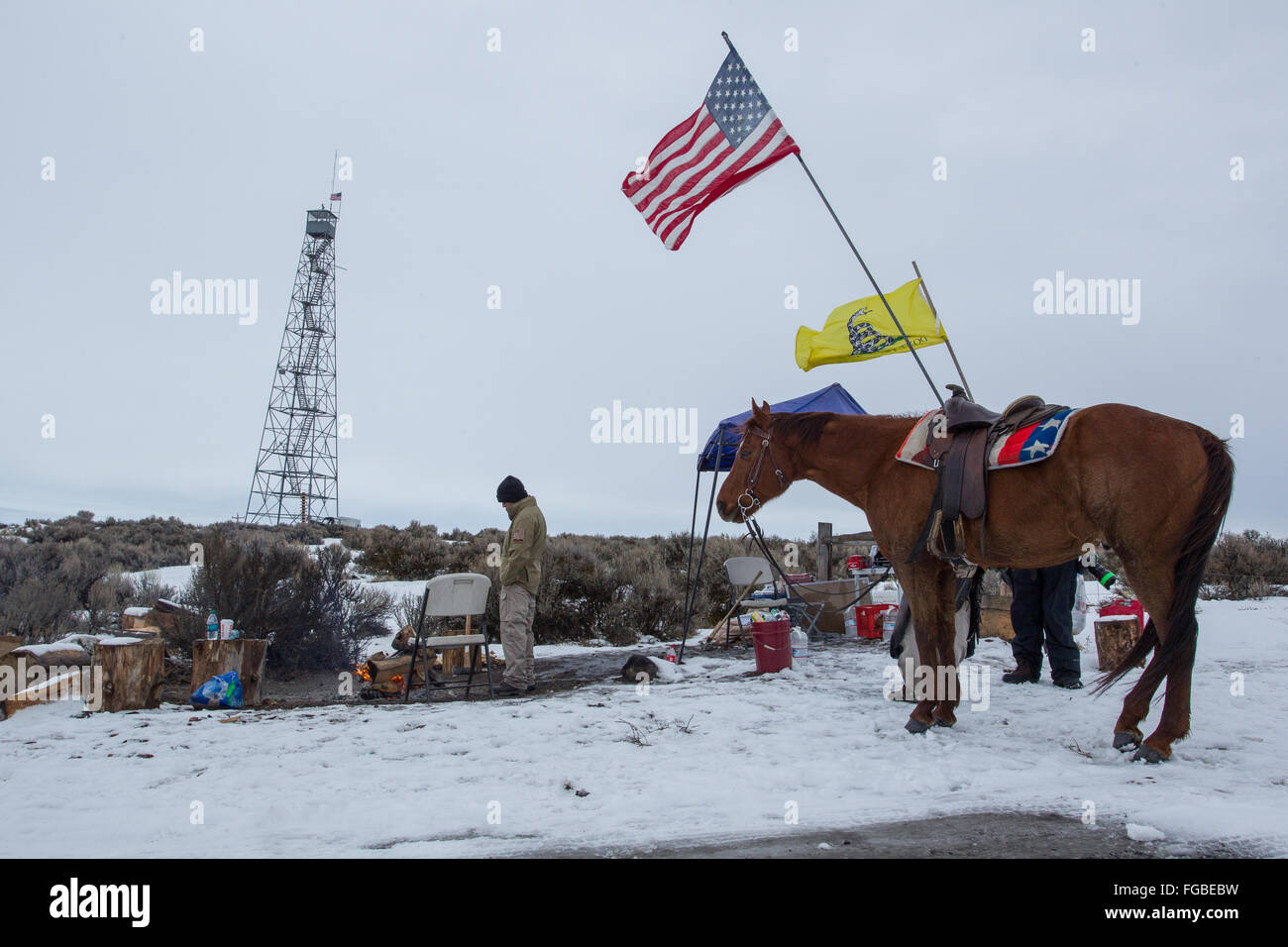 Early morning at the front gate guard post during the Bundy occupation of  Malheur National Wildlife Refuge, OR - Stock Image