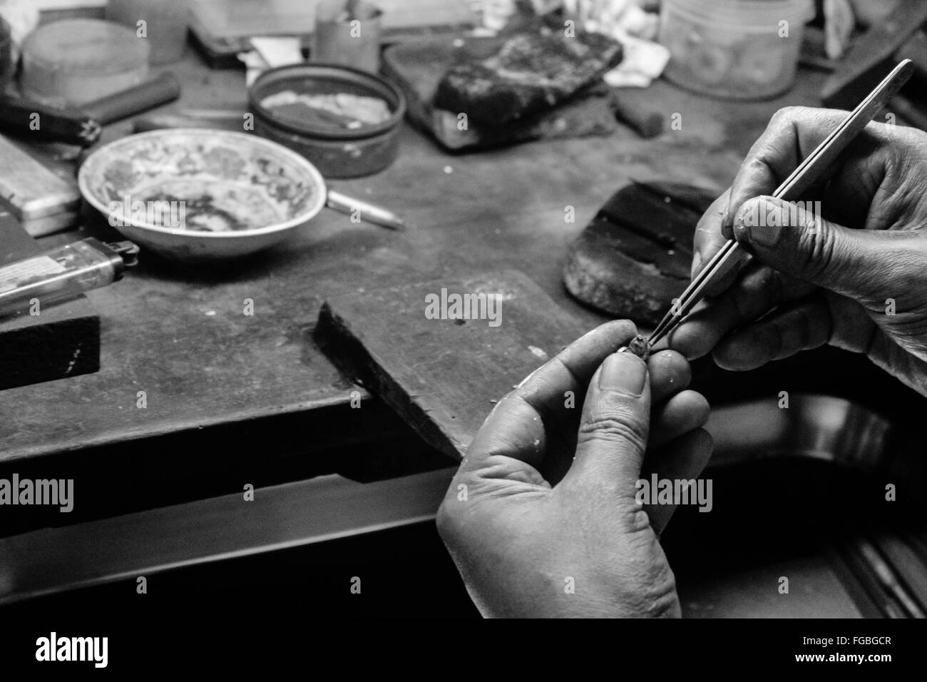 Cropped Image Of Jeweller Working In Workshop - Stock Image
