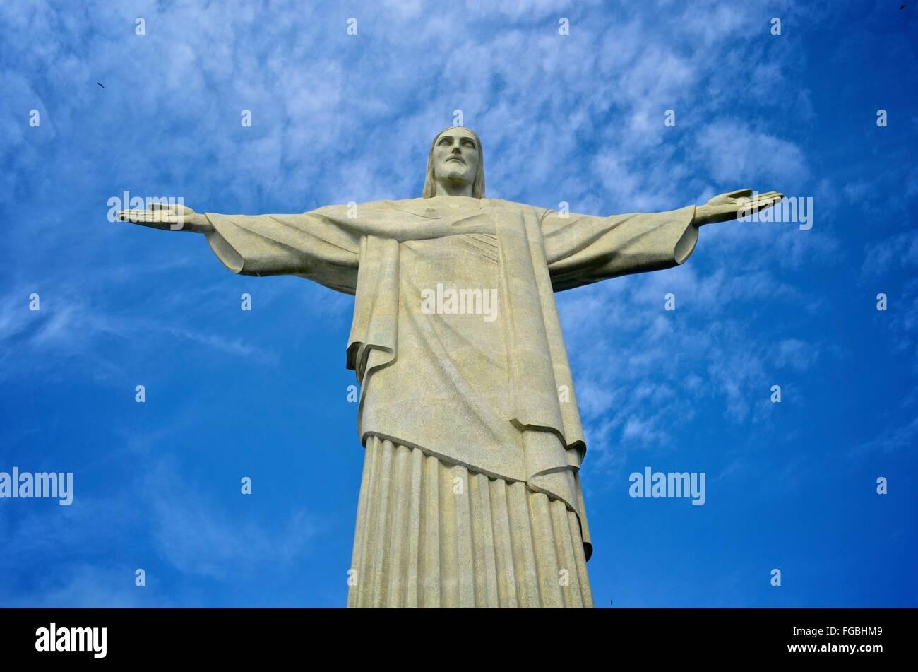 Christ the Redeemer statue, on the Corcovado mountain, Rio de Janeiro, Brazil. Stock Photo