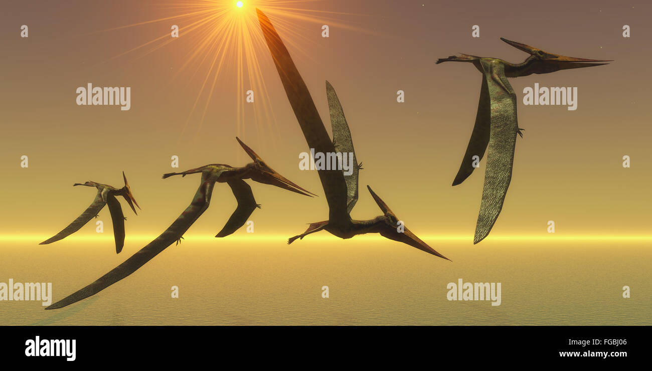 Pteranodons are flying reptiles that lived in the Cretaceous Period of North America in Earth's history. - Stock Image
