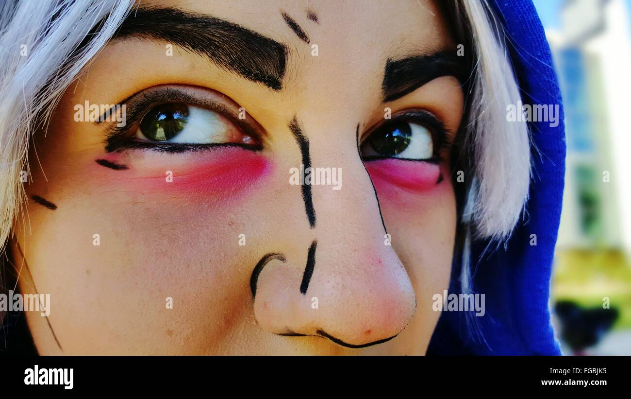 Close-Up Of Woman With Face Paint - Stock Image