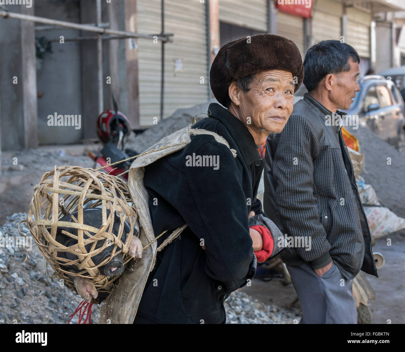 Piggy-back, man with pig in wicker basket, Niujiaozhai Market, Yunnan Province, China - Stock Image
