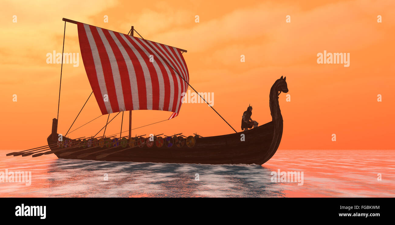 A Viking longboat sails through ocean calm waters to their destinations for trade goods. - Stock Image