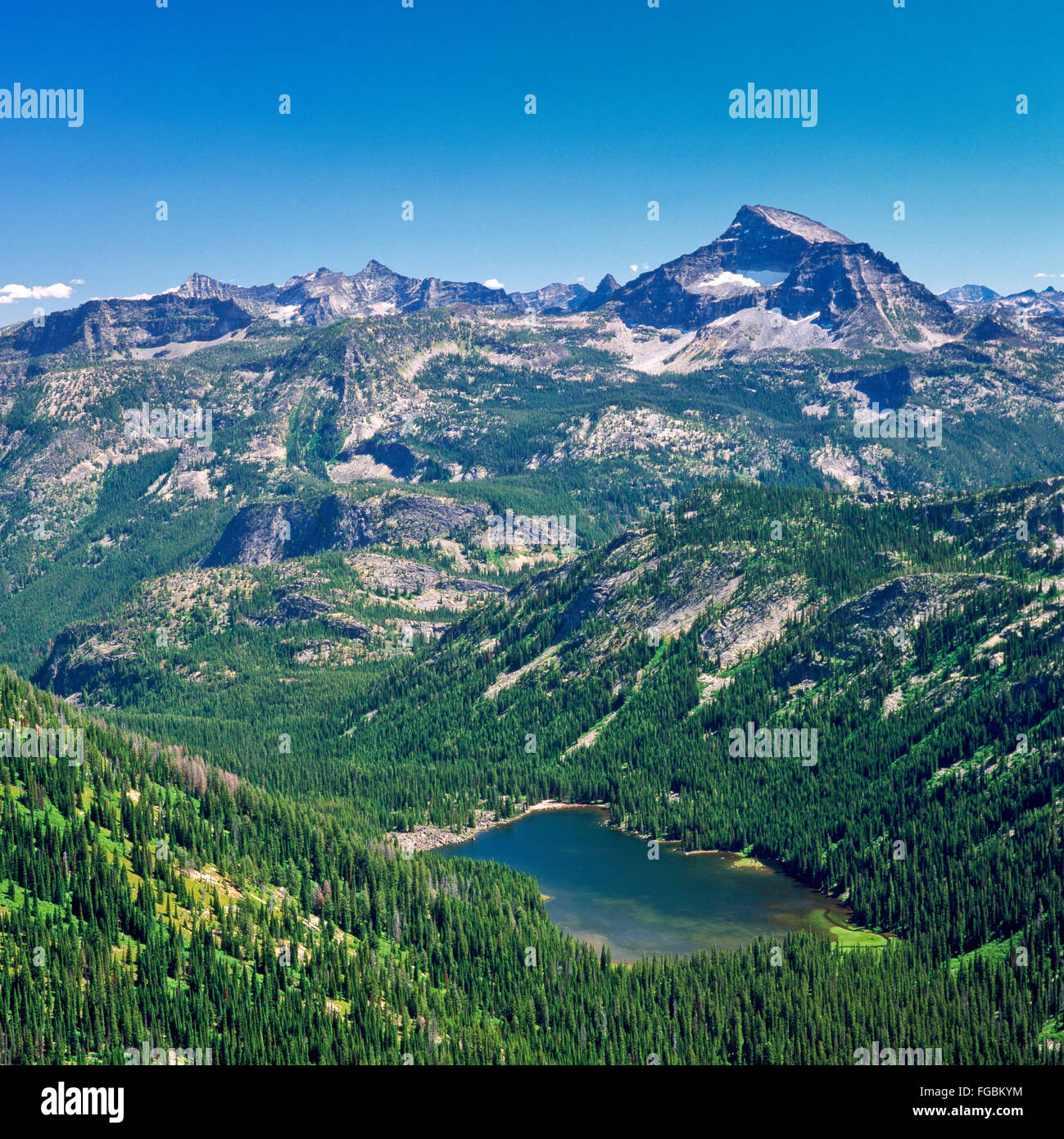 el capitan and elk lake in the bitterroot mountains near darby stock