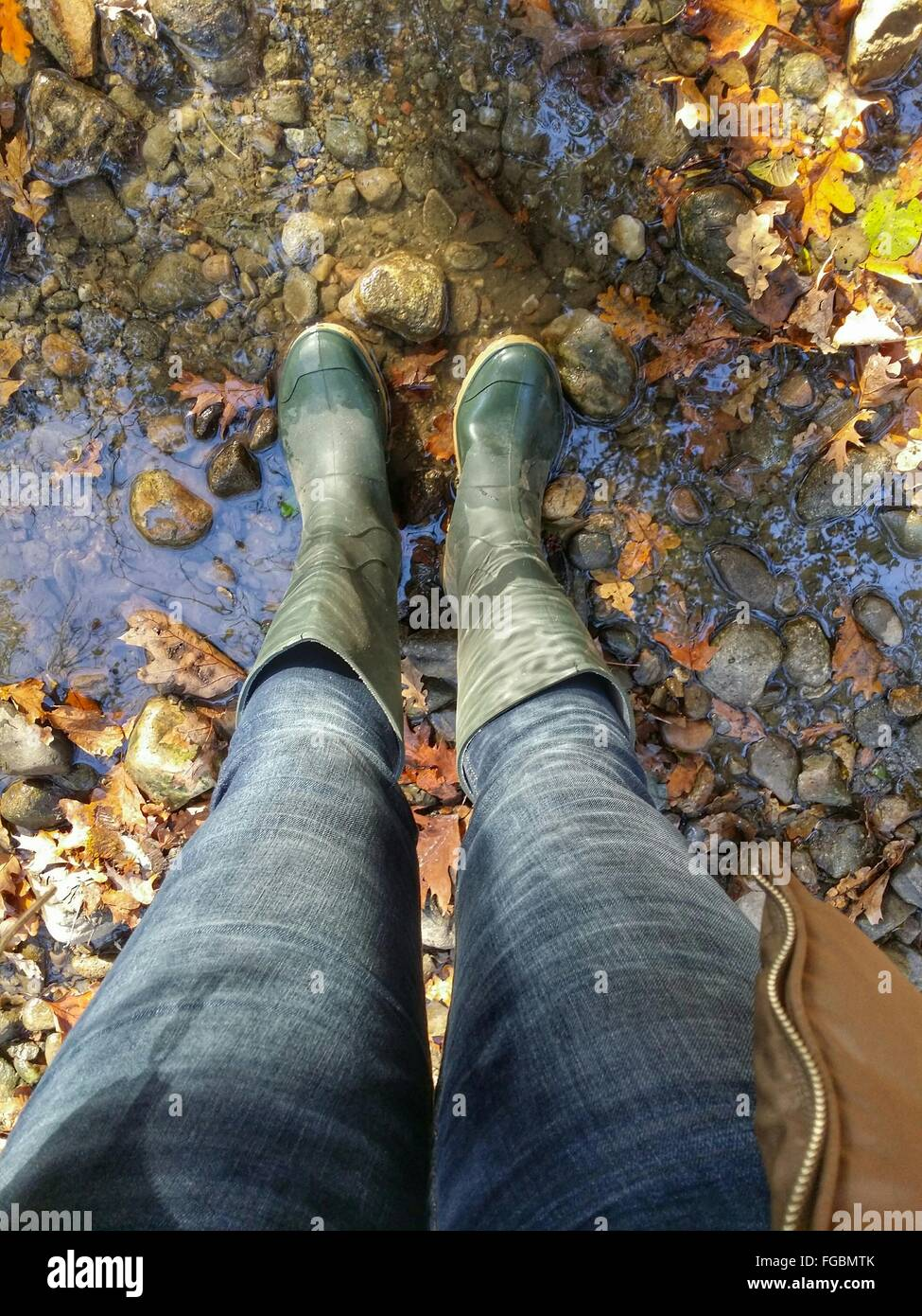 Low Section Of Woman Wearing Rubber Boot Standing On Stream Stock Photo