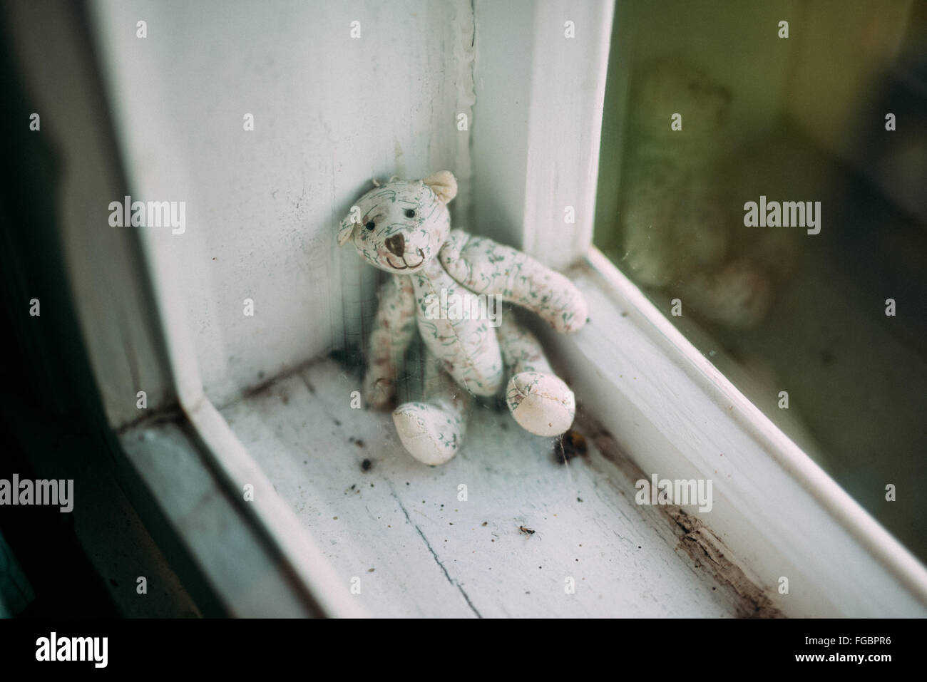 High Angle View Of Stuffed Toy On Window Sill At Home - Stock Image