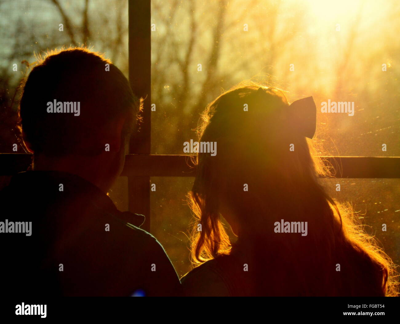 Rear View Of Couple Looking Through Window During Sunset - Stock Image