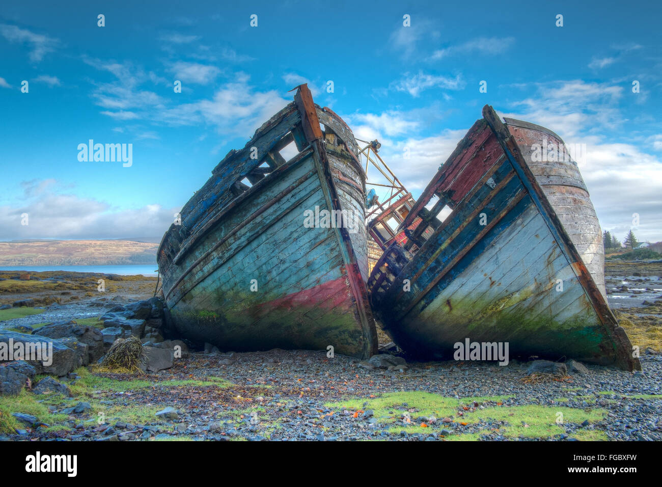 Wrecked Boats On Shore - Stock Image