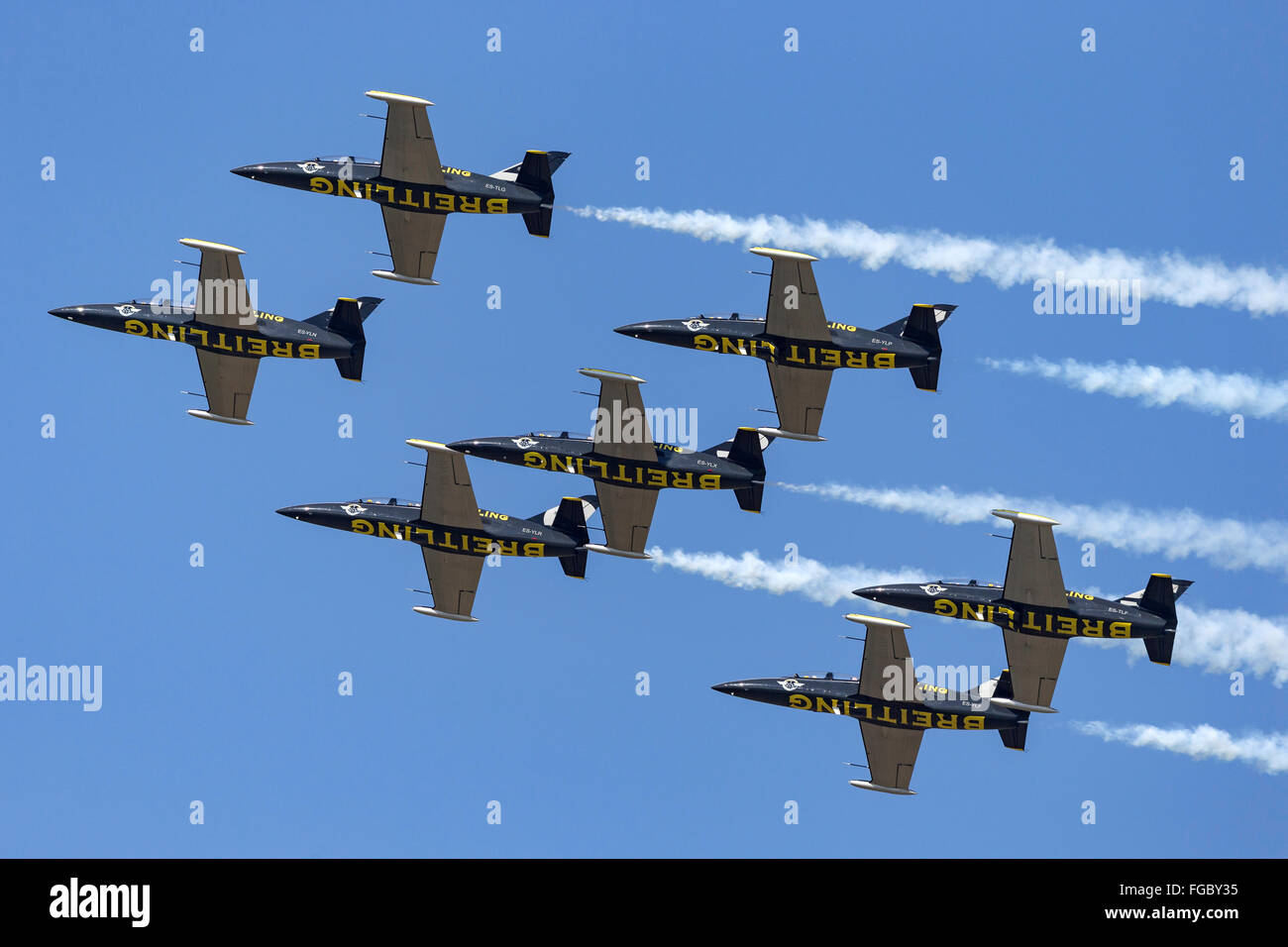 Aero L-39 Albatross aircraft of the Breitling Jet Team - Stock Image