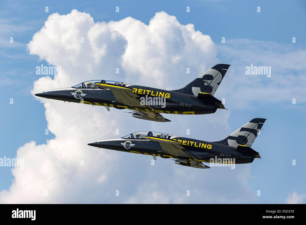 Aero L-39 Albatross trainer aircraft of the Breitling Jet Team - Stock Image