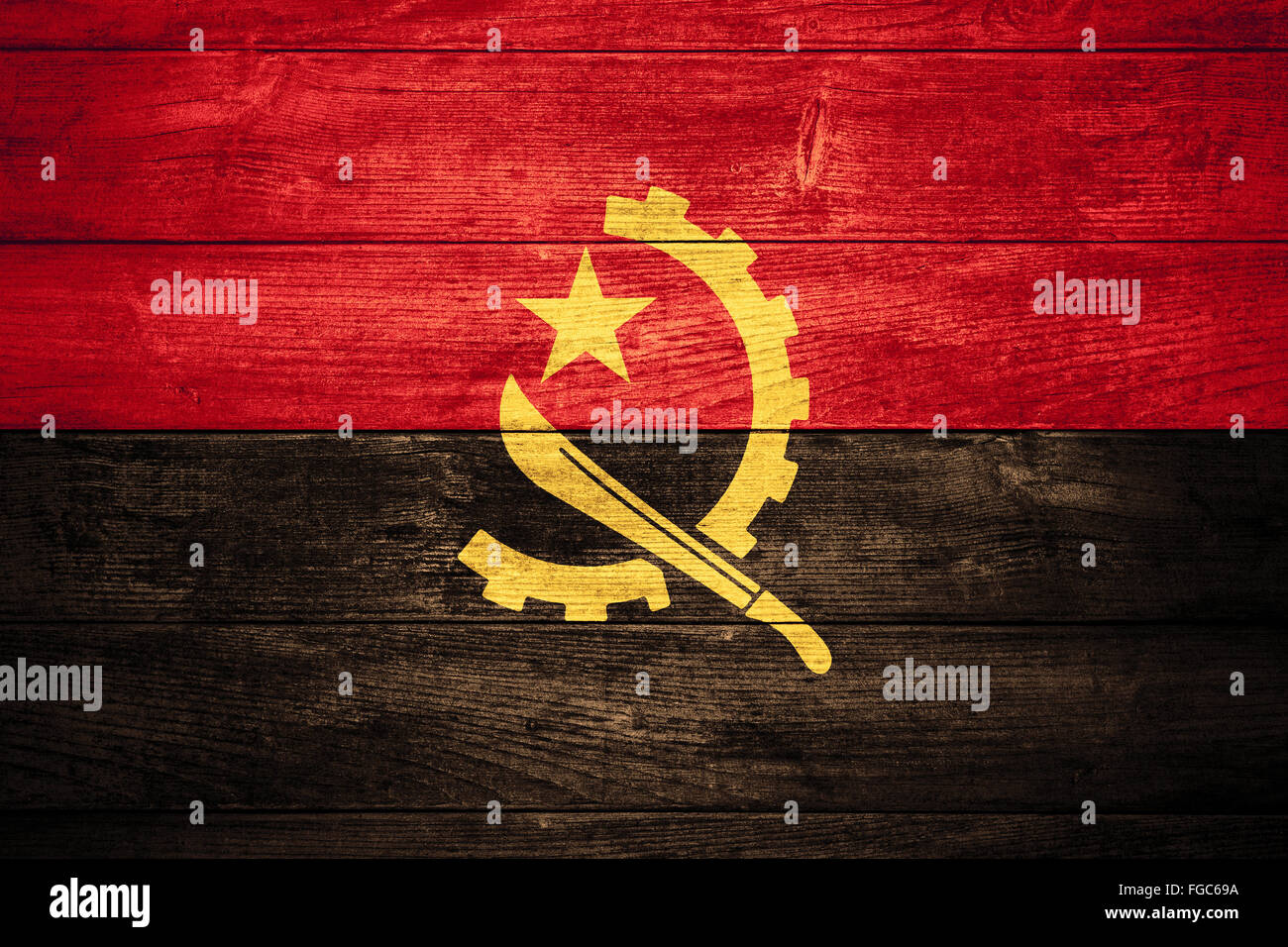 flag of Angola or  Angolan banner on wooden background - Stock Image