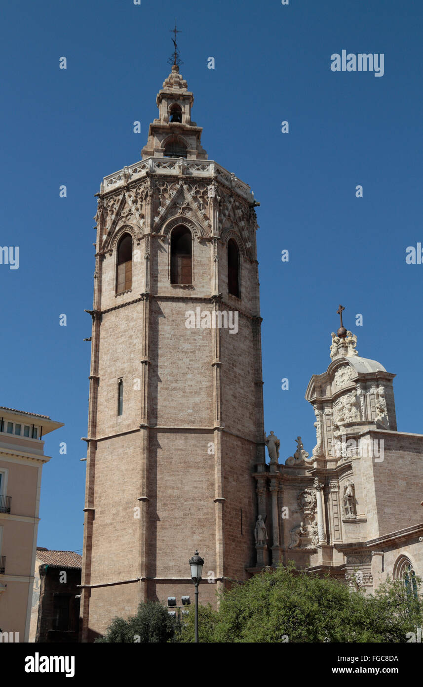 The Bell Tower, Micalet and Catedral de València, Place de la Reina in Valencia, Spain. Stock Photo
