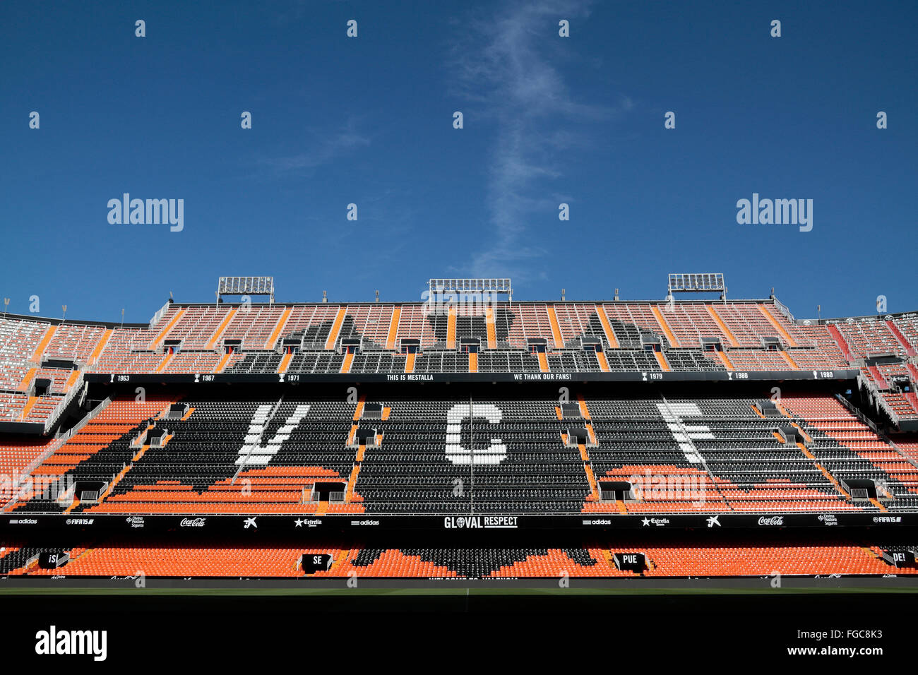 Stands in the Mestalla stadium, home of Spanish La Liga side Valencia CF, Valencia, Spain. - Stock Image