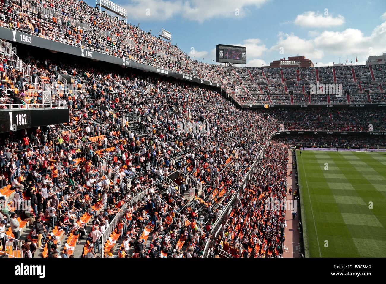 View from the stands at a Spanish La Liga game in the Mestalla, home to Valencia CF, Valencia, Spain. - Stock Image