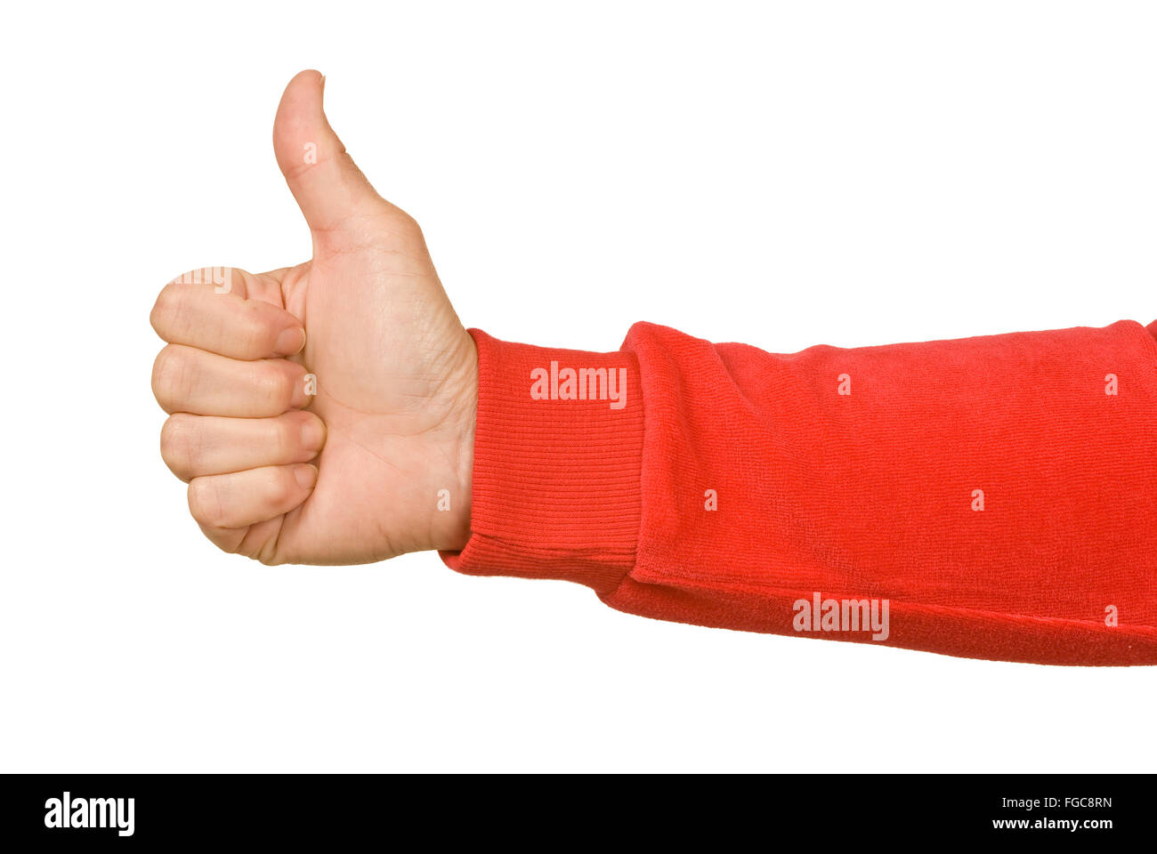 Thumbs Up With Red Sleeve - Stock Image