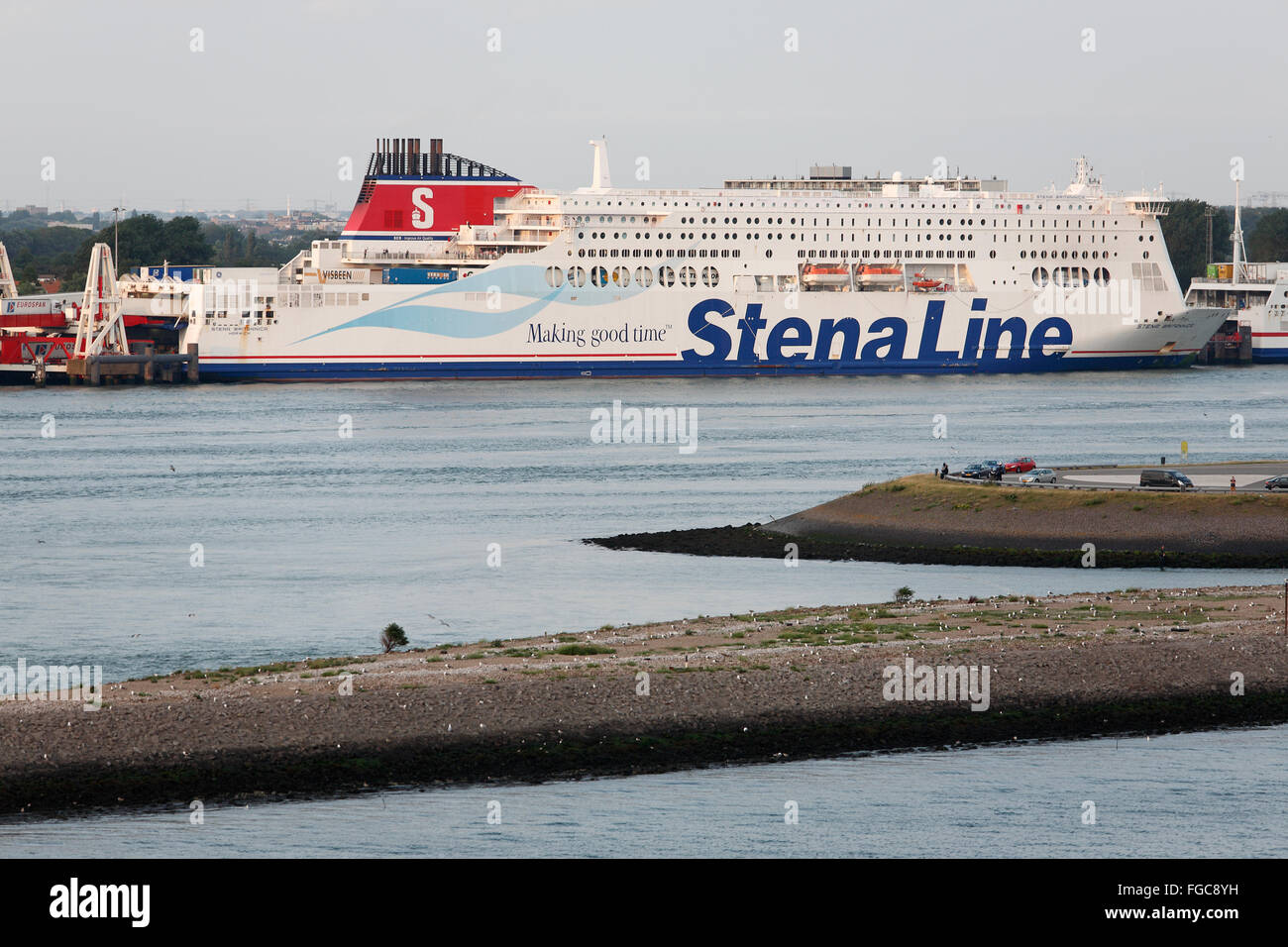 Stena Line passenger ship in the harbour of Rotterdam - Stock Image