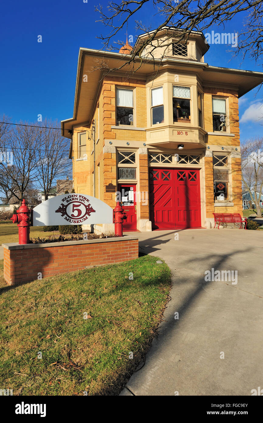 The Elgin Fire Barn No. 5, now a museum, was built in 1903 and decommissioned in 1991. Elgin, Illinois, USA. - Stock Image