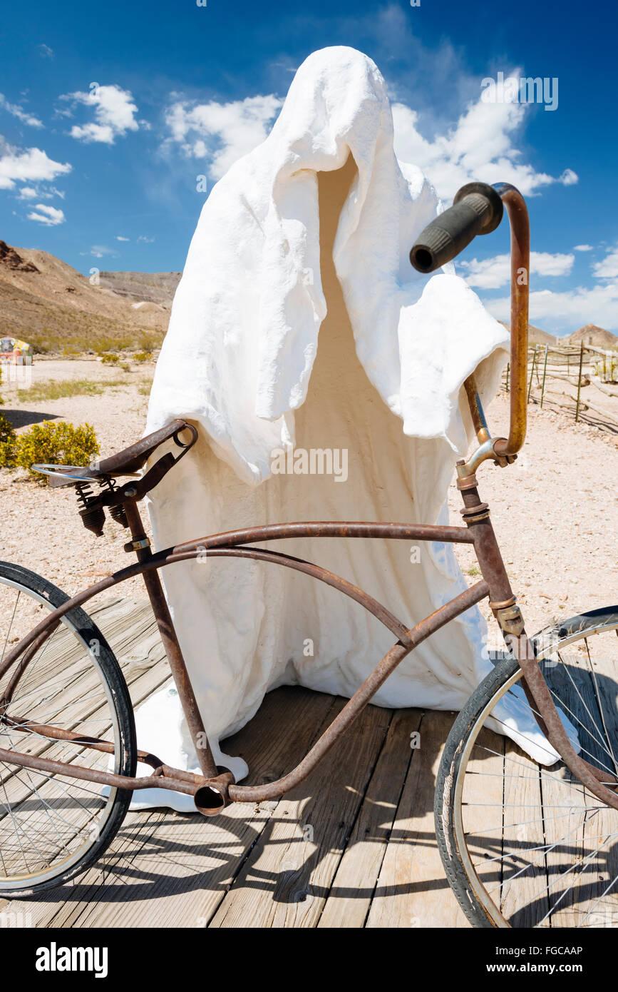 A sculpture by Belgian artist Albert Szukalski called 'Ghost Rider' in Goldwell Open Air Museum, Rhyolite, - Stock Image