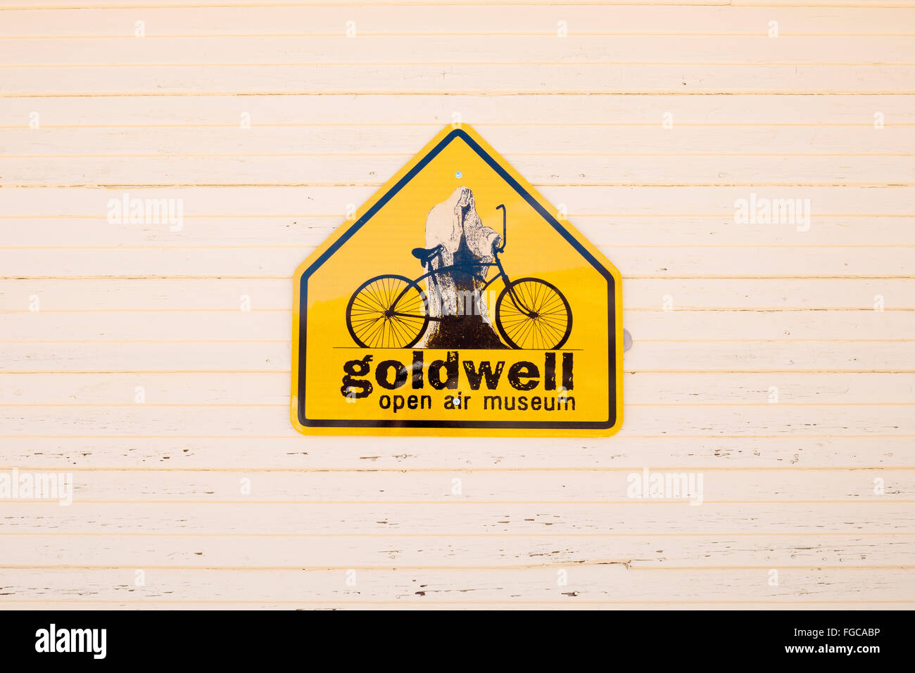 A sign for Goldwell Open Air Museum in Rhyolite, Nevada Stock Photo