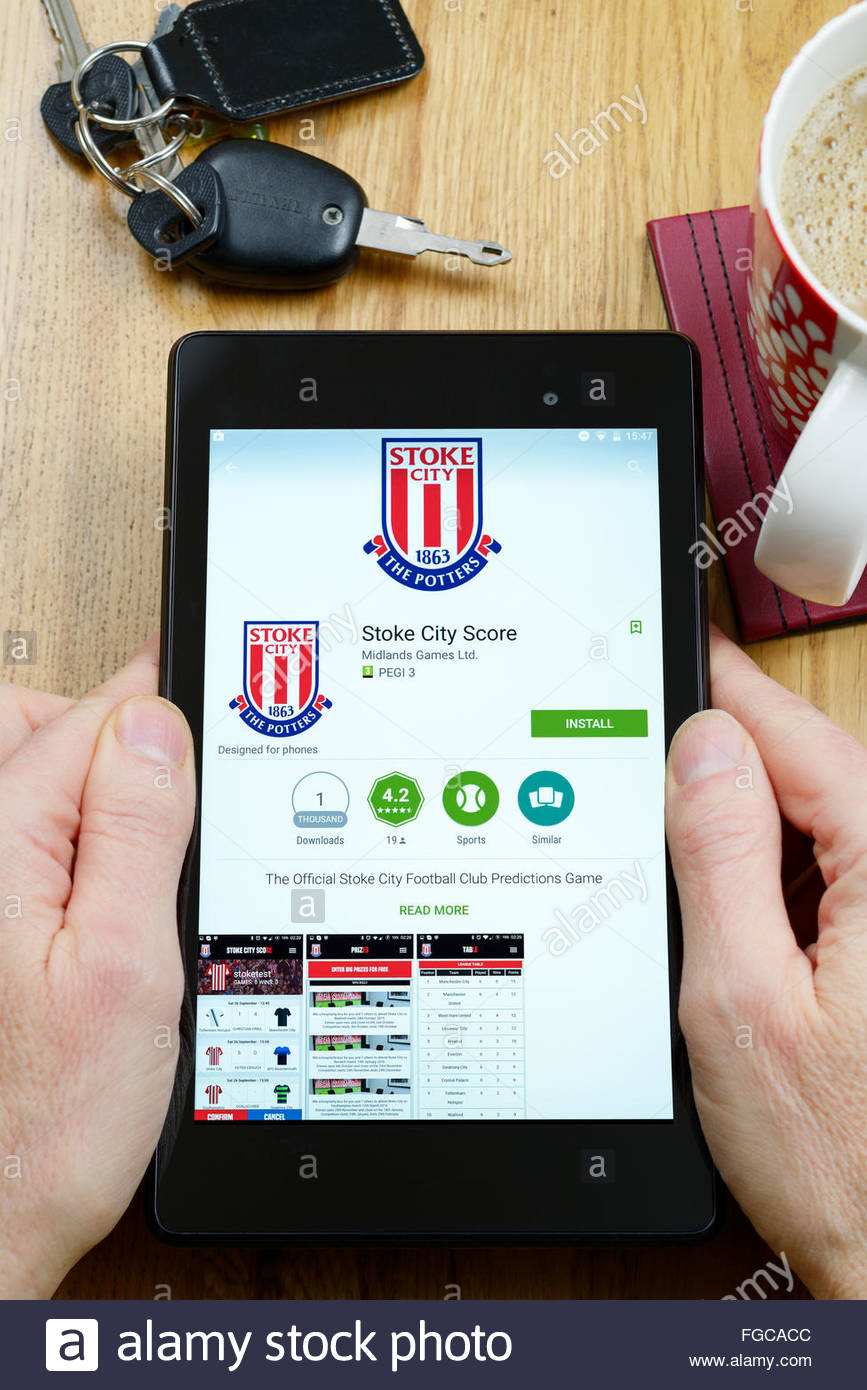 Stoke City F.C. app on an android tablet PC, Dorset, England, UK - Stock Image