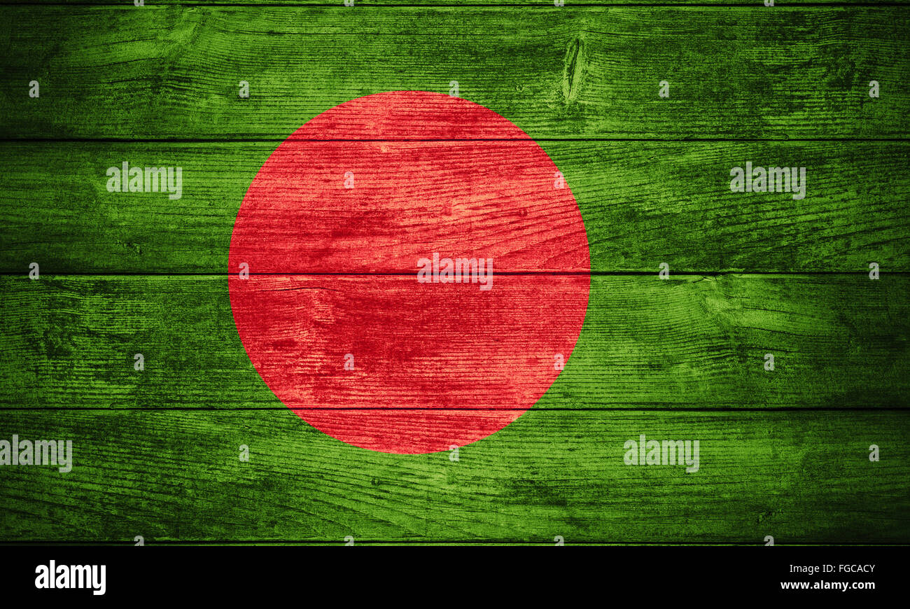 flag of Bangladesh or  banner on wooden background - Stock Image