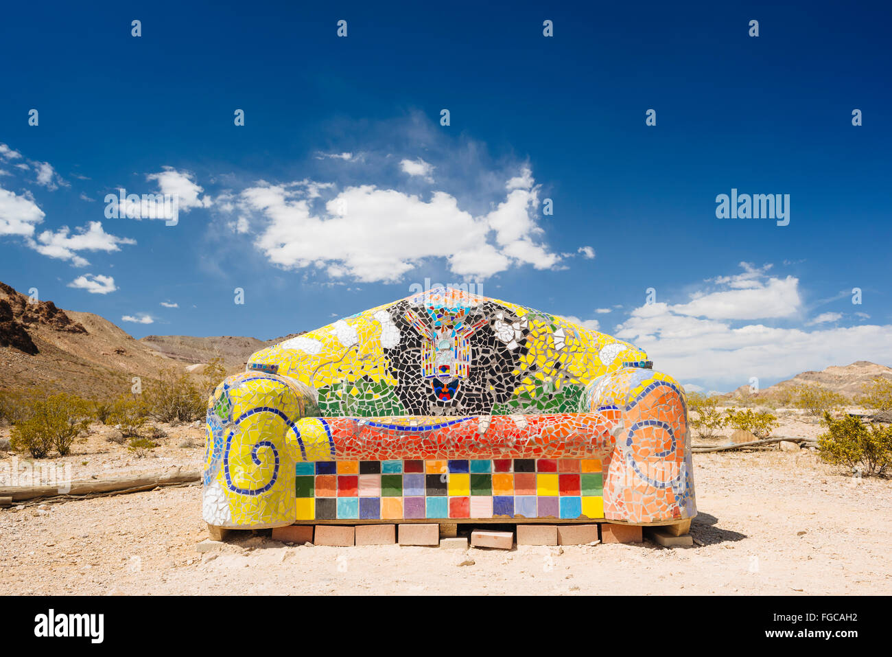 A sculpture by Sofie Siegmann called 'Sit Here!' in Goldwell Open Air Museum Rhyolite, Nevada - Stock Image