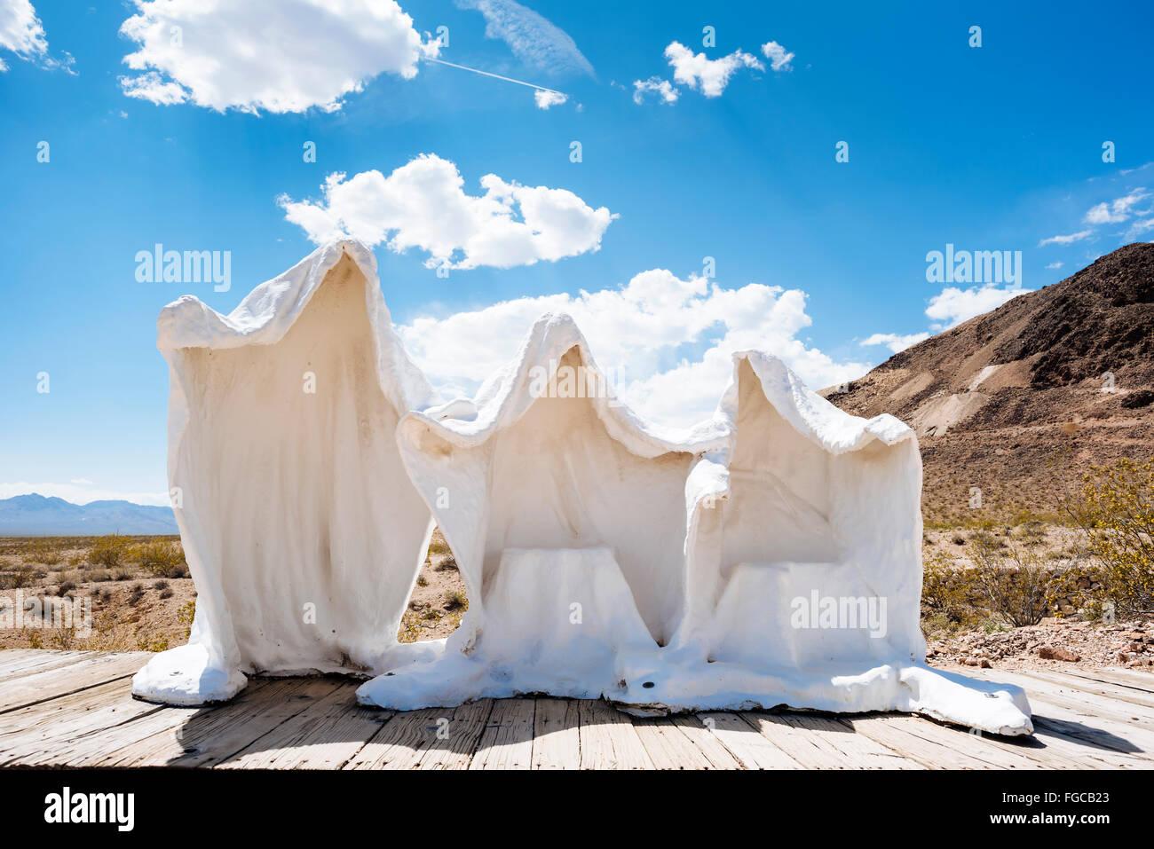 A sculpture by Albert Szukalski in Goldwell Open Air Museum, Rhyolite, Nevada - Stock Image