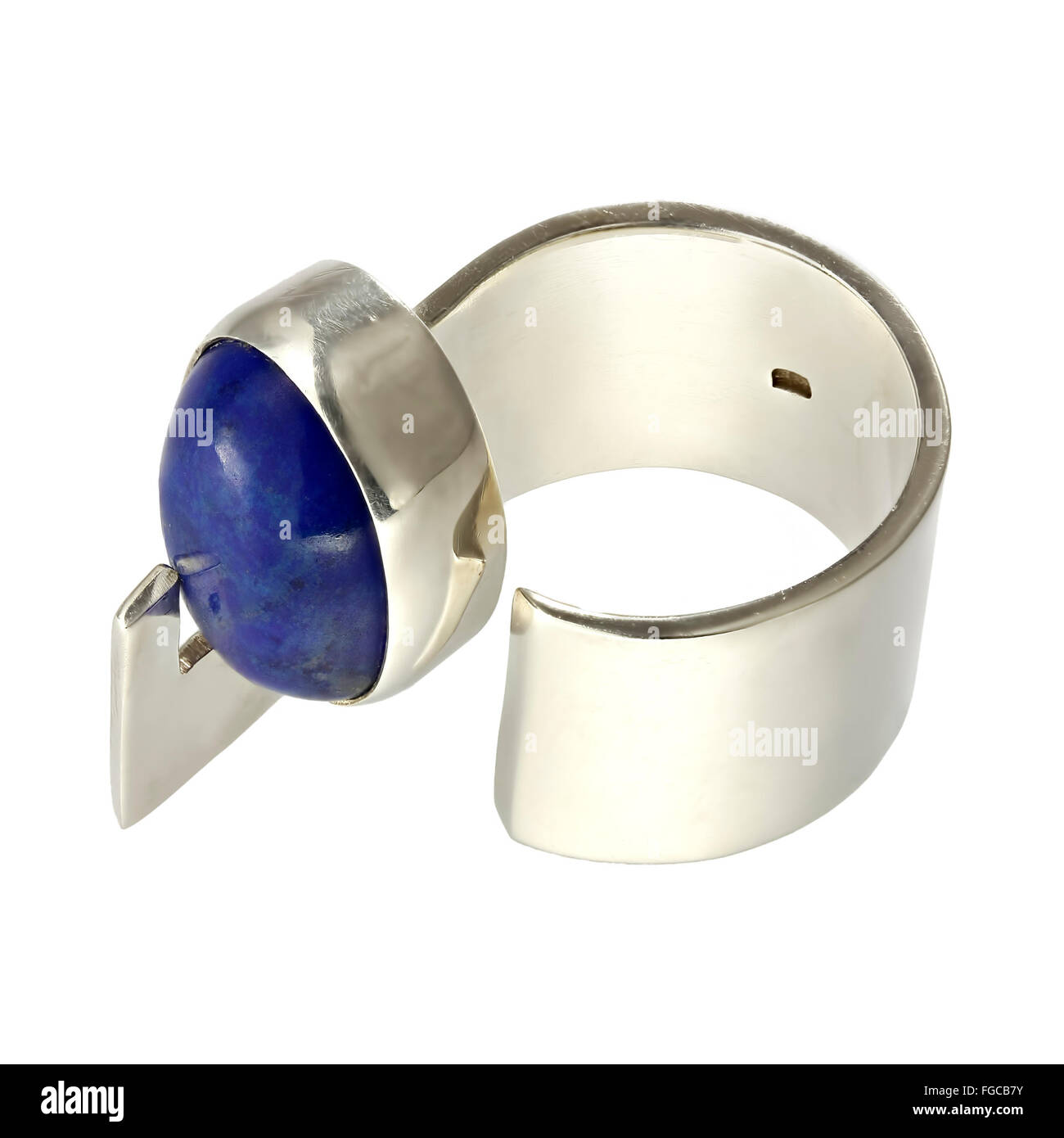 Silver ring with lapiz lazuli - Stock Image