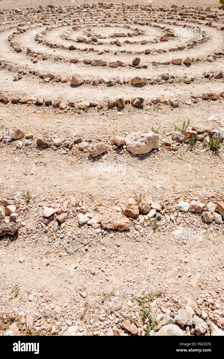 A labyrinth in Goldwell Open Air Museum, Rhyolite, Nevada - Stock Image