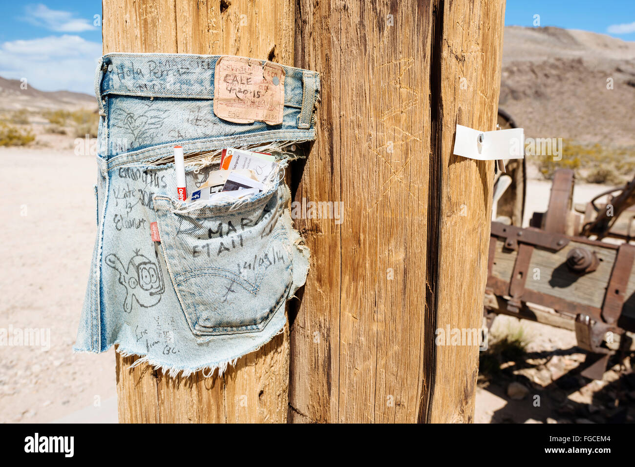 A pair of denim shorts serve as a canvas in Goldwell Open Air Museum, Rhyolite, Nevada - Stock Image
