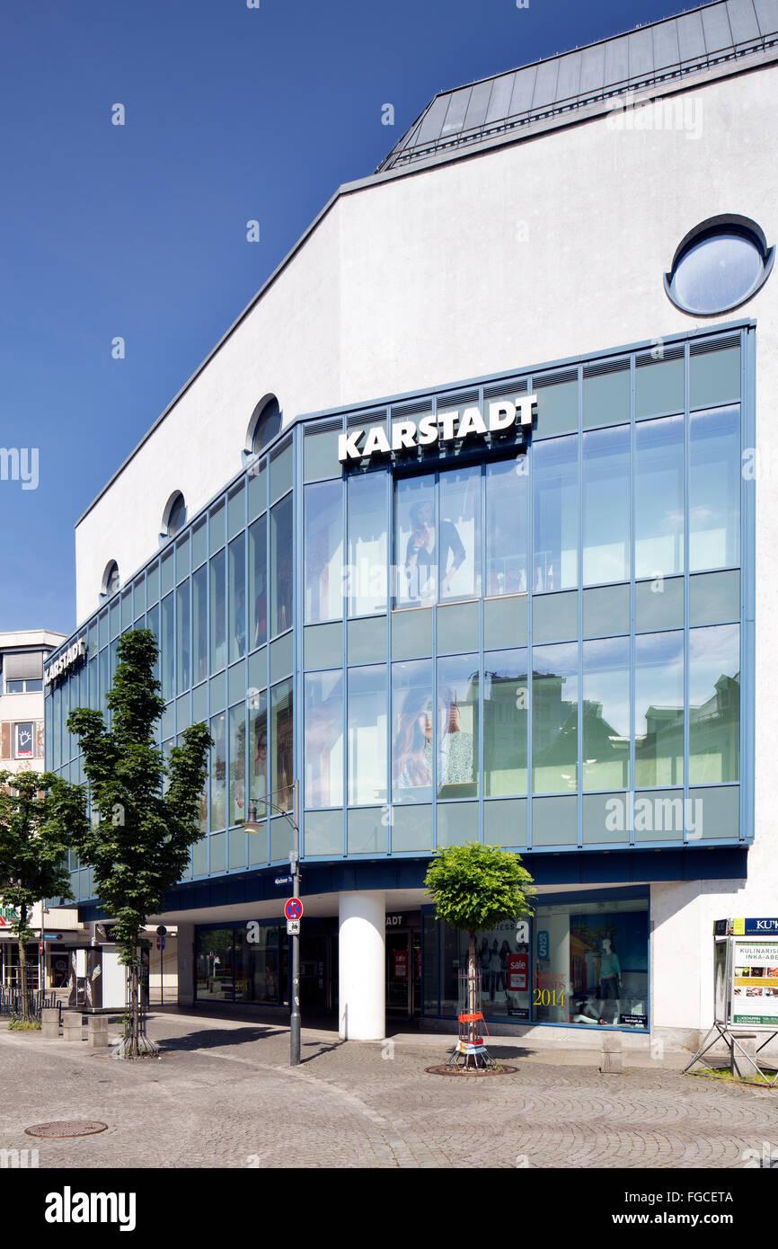 Warenhaus Karstadt, department store in city centre, Rosenheim, Upper Bavaria, Bavaria, Germany - Stock Image