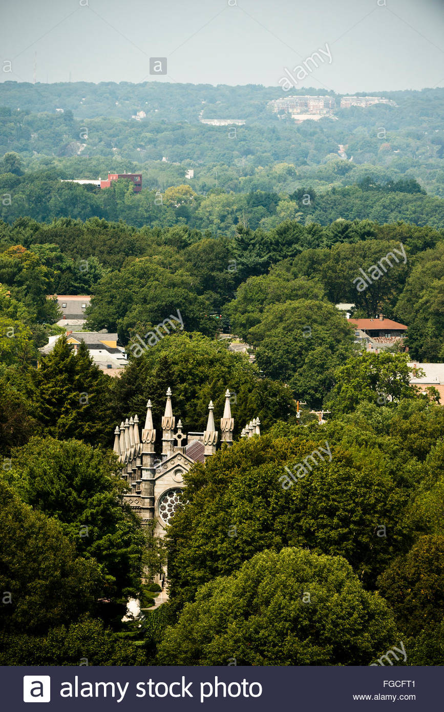 Aerial view of Bigelow Chapel in the Mount Auburn Cemetary-Boston, Massachusetts. - Stock Image