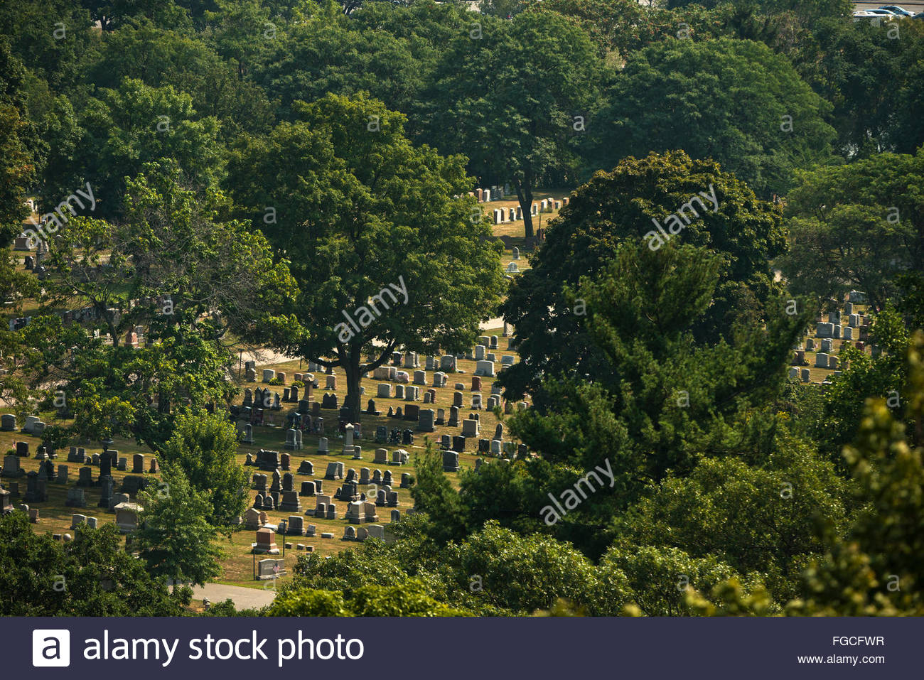 Mount Auburn Cemetery in Boston, Massachusetts. - Stock Image