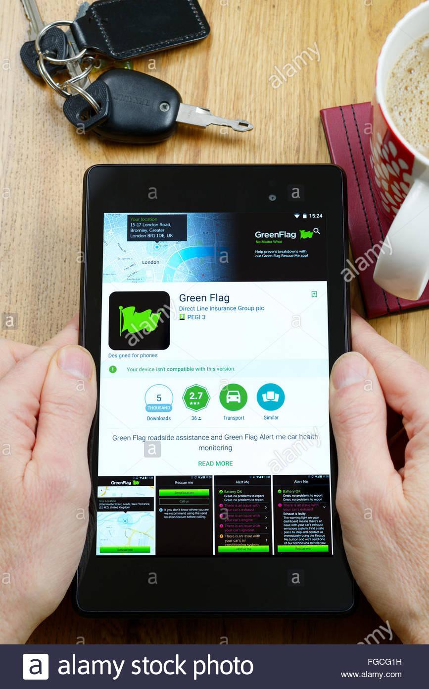 Green Flag App >> Green Flag Roadside Assistance App On An Android Tablet Pc Dorset