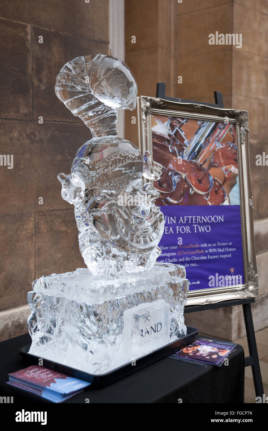 Ice sculpture of the Cheshire Cat outside the Grand Hotel on the Ice Trail York North Yorkshire England UK United - Stock Image