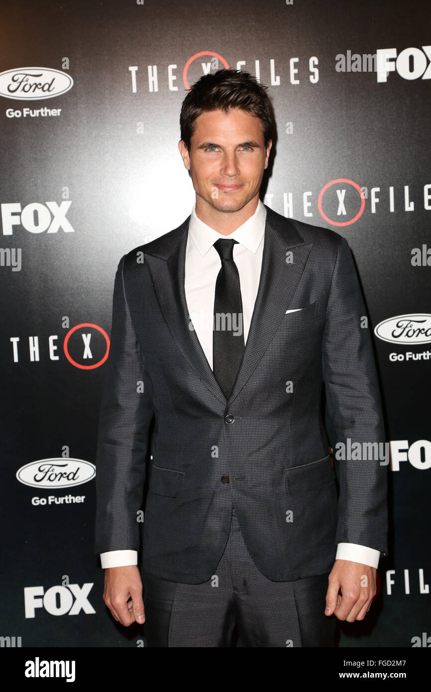 Celebrities attend THE X-FILES Premiere Event at California Science Center.  Featuring: Robbie Amell Where: Los - Stock Image